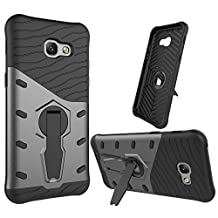 Galaxy A5 (2017) Case, SsHhUu Tough Heavy Duty Shock Proof Defender Cover Dual Layer Armor Combo with Swivel Kickstand Protective Hard Cover Case for Samsung Galaxy A5 (2017) / A520F (5.2 Inch) Black