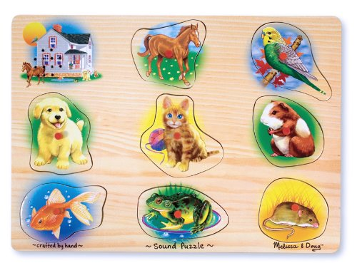 Doug Pets Peg Puzzle - Melissa & Doug Pets Sound Puzzle - Wooden Peg Puzzle With Sound Effects (8 pcs)