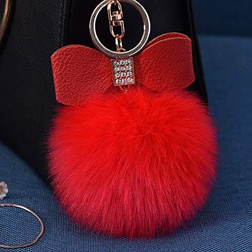 Fluffy Ball Key Chain 8-10cm Cute Keychain Bag Charm Ball Fur Key Chain for Car Key Ring -