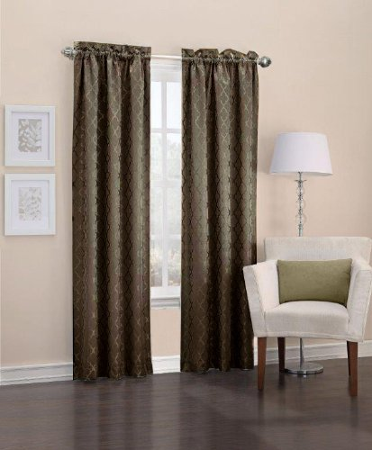 40 by 63-Inch Chocolate Easy Care Fabrics Thermal Pole Top Trellis Embroidered Room Darkening Curtains Set of 2 GMA Inc 103685