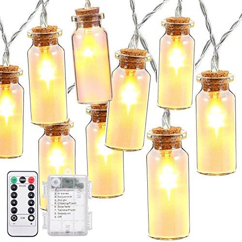 Outdoor String Lights,Oak Leaf 9.9 ft 30 LEDs Waterproof 8 Modes Glass Jar LED Fairy Lights for Beddroom Hoom Garden Wedding Party,Battery - Mode Glasses