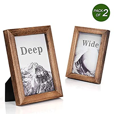 Emfogo Picture Frames 5x7 Solid Wood Photo Frames and High Definition Glass Display Pictures for Table Top Display and Wall Mount Wood - EXQUISITE FRAME: Made of solid Paulownia wood, finished with the burnished black accents,high definition glass and smooth boarding at the back, the exquisite picture frame has been carefully designed by the designer to protect and decorate your beautiful pictures SIZE: Fits 5x7 inch photos! Photo frame's outer dimension is 7.95'' L x 5.98'' W x 0.78'' H EASY MOUNTING: Comes with easy opening tabs at the back for easy access for loading photos. The frame can be put for table top display vertically or horizontally, and hung on the wall by wall hanger at back, screw in the package - picture-frames, bedroom-decor, bedroom - 51kGM02v%2B7L. SS400  -