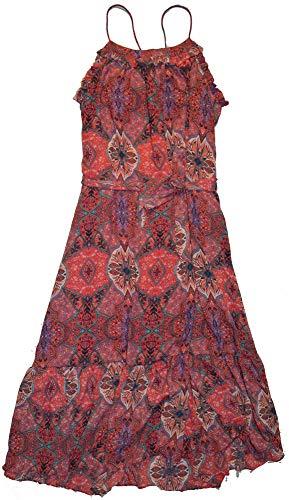GAP Womens Pink Multi Print Tiered Ruffle Cami Maxi Dress Medium