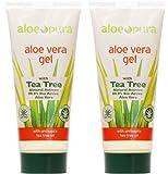 (2 Pack) - Aloe Pura - Aloe Vera Gel + Tea Tree | 200ml | 2 PACK BUNDLE