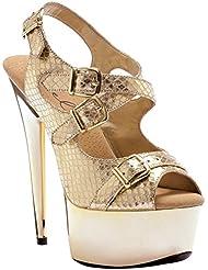 6 Inch High Heel Womens Sandals Metallic Snake Print Slingback Sexy Shoes