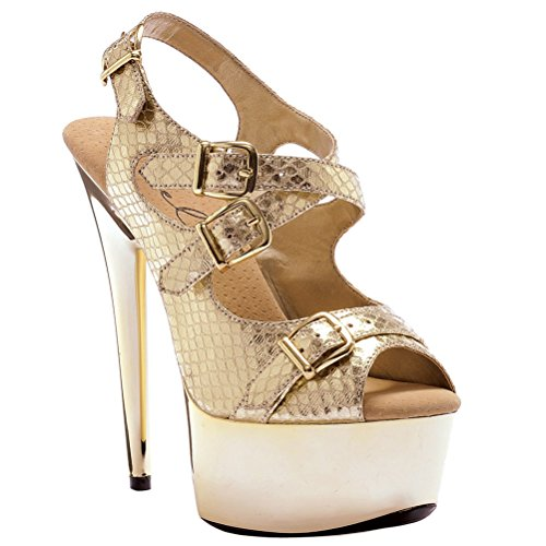 6 Inch High Heel Womens Sandals Metallic Snake Print Slingback Sexy Shoes Size: 12 Colors: Gold ()