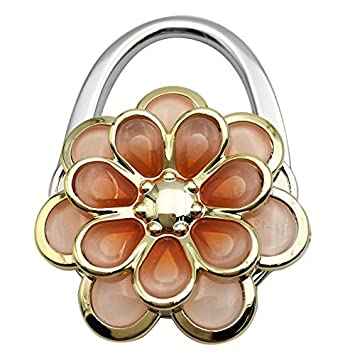 Reizteko Purse Hook Orange Sun Flower Foldable Handbag Purse Hanger Hook Holder for Tables