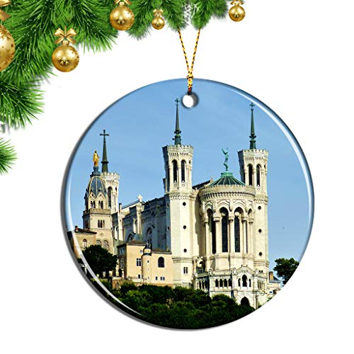 Hqiyaols Ornament France Fourviere Hill Lyon Christmas Ornaments Ceramic Sheet Souvenir Travel Gift Collection Tree Door Window Ceiling Pendant Decorative (France Christmas Ornaments Lyon)