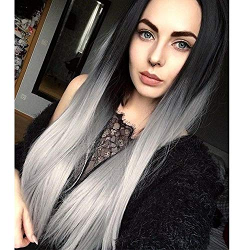 Ombre Gray 2 Tones Black and Grey Wig Long Natural Straight Silver Grey Replacement Hair Wigs For Women Heat Resistant Fiber Hair