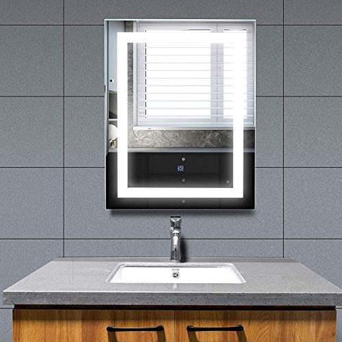 Mecor LED Lighted Bathroom Mirror Silvered Wall Mounted Mirror with Touch Button,Anti Fog and IP44 Waterproof Hanging Rectangle Vertical Mirror,30 X24