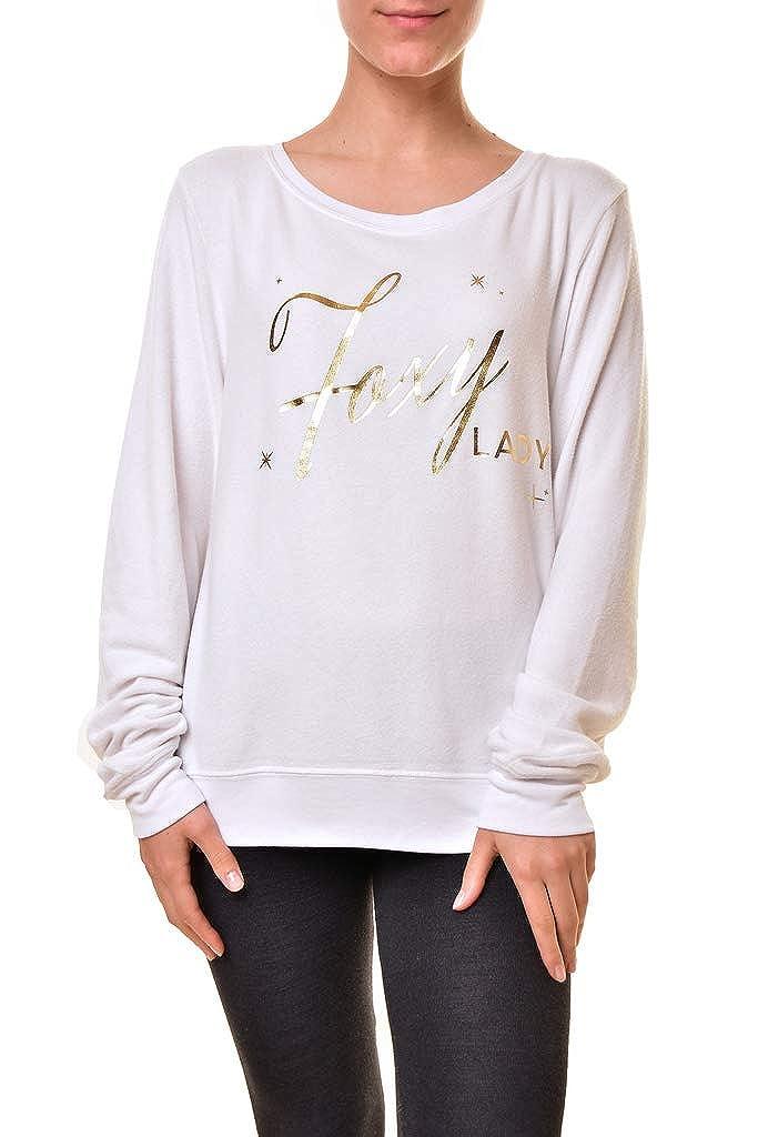 Wildfox Womens WVV61354U Foxy Lady Baggy Sweatshirt White