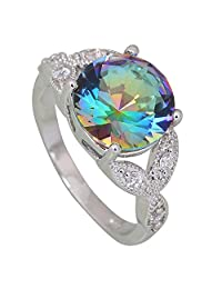 Fashion Rings for Women Purple Rainbow Mystic Topaz Silver Jewelry Wedding Ring Size 5 6 7 8 9 10 R593