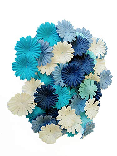 Embellishments Flower Paper (NAVA CHIANGMAI 100 Blue Color Tone Mulberry Daisy Flowers Scrapbooking Embellishment Making Doll House Supplies Card)
