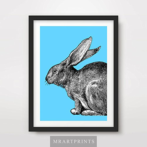 BUNNY RABBIT BLUE BRIGHT COLOR ANIMAL ILLUSTRATION POP ART PRINT Poster Modern Home Decor Room Interior Design Wall Picture A4 A3 A2 (10 Size Options)