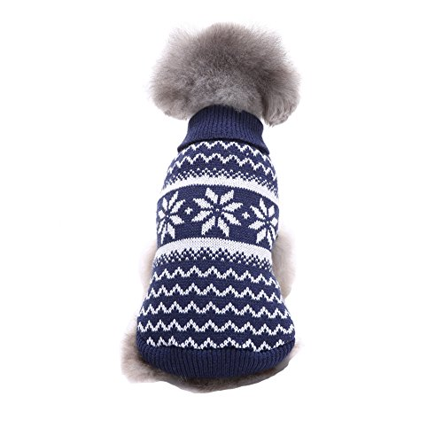 Dog New Years Costume (NACOCO Dog Costume Sweater Snowflake Puppy Clothes Winter New Year Christmas for Small Dog and Cat (XS, Blue))