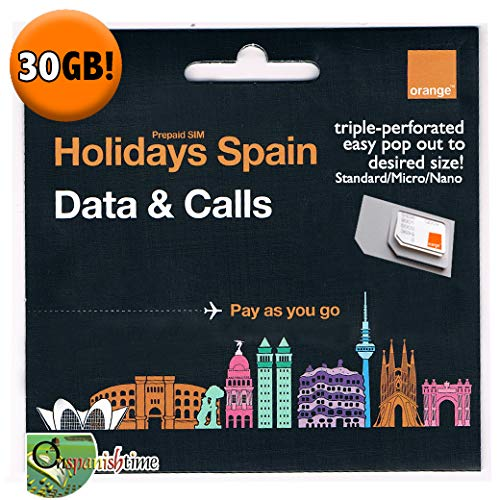 ORANGE Holidays Spain 30GB Data SIM Card. Free Incoming & Free Calls Between The Same SIM Users. Bundle Valid 30 Days. 4 G + speeds. NO European CC Needed to top up. English Customer Service. ()
