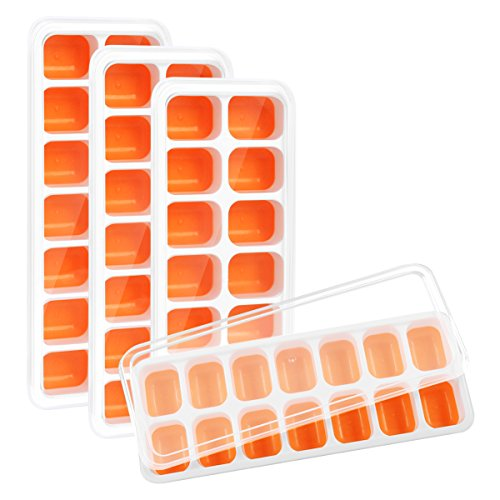 Kootek 4 Pack Silicone Ice Cube Trays with Lid - BPA Free Flexible 56-Ice Cubes Molds Easy Release Ice Trays with Spill-Resistant Removable Cover, Dishwasher Safe and Stackable Durable (Orange)