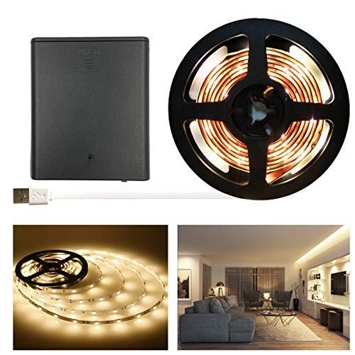 (WOTECH Battery Powered LED Strip Lights, Warm White Flexible USB LED Light Strips Kit 60 LEDs 6.6ft (2M) LED Tape Light, Mood Light, Decor Light )