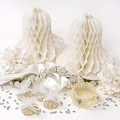 Bridal Wedding Shower-Set Garter Organza Wraps Tissue Wedding Bells Acrylic Jewels Ribbon Flowers