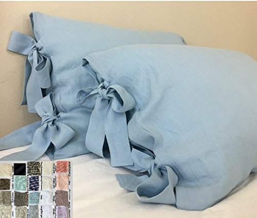 A pair of Linen Pillow Cases with Bow Ties, Handmade 100% Fl