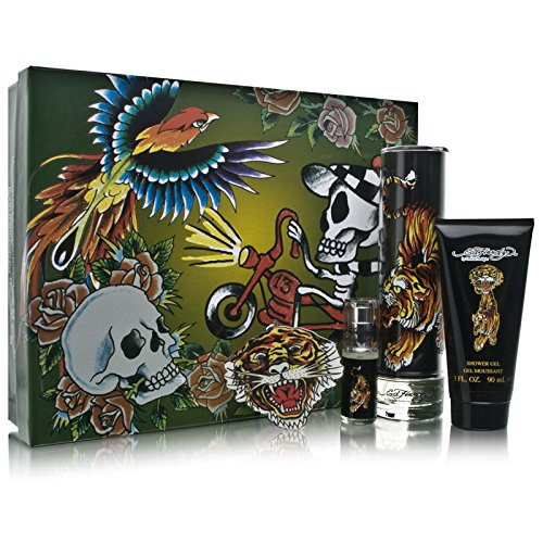 Ed Hardy By Christian Audigier For Men Edt Spray 3.4 Oz & Shower Gel 3 Oz & Edt Spray .25 Oz Mini & Keychain (Hardy Keychain Ed)