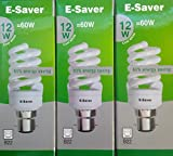 Pack of 3, E-Saver CFL Full Spiral, 12w = 60 watt, Cool White 4200k, Compact Fluorescent Lamp, Bayonet Cap (BC, B22, B22d) 600 Lumen, T2, 80%-85% Energy Saving Light Bulb, Flicker Free, 10,000 Hours Life Time