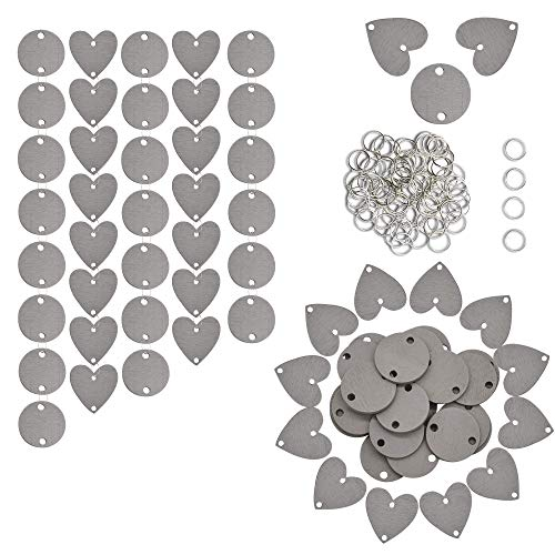 Wooden Discs with 2 Predrilled Holes (1.2inch/50PCS Hearts Shapes & 50PCS Round),Unfinished Blank Wood Tags Slices for Birthday Organizer Board Tags,DIY Crafts Ornaments,Wedding Favor Birthday