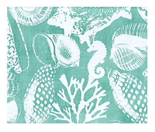 American Plastics Vinyl Tablecloth Flannel Back Ocean Seashells Table Cover (Water Foam Green/White, 52 x 70 Rectangle)