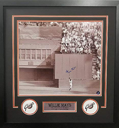 - Willie Mays San Francisco Giants Signed Autograph Custom Framed 16x20 Suede Matted to 26x28 Photo Photograph Say Hey Hologram Certified