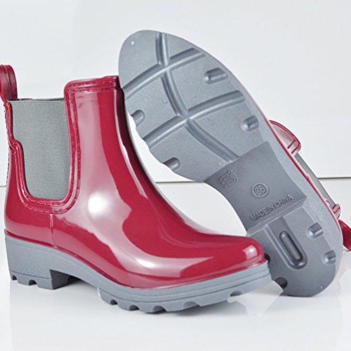 LvRao Mujeres Lluvia Nieve Zapatos Impermeables Boots de Goma Botines Cálido de Jardín Rojo