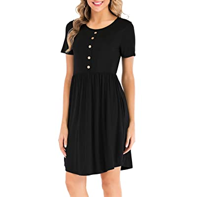CHIC DIARY Women's Casual Plain Simple T-Shirt Dress with Pockets at Women's Clothing store