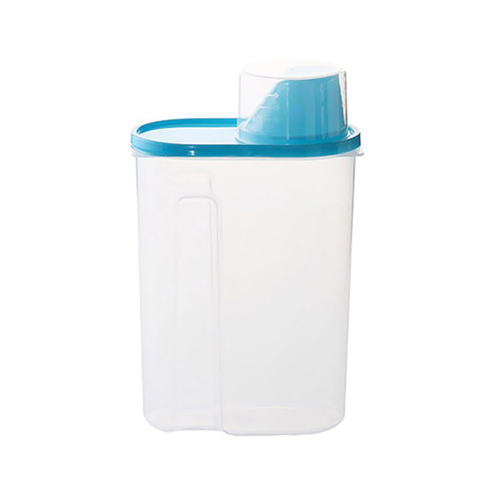 OUNONA Cereal Container with Pour Spout and Measuring Cup Plastic Clear Food Saver Airtight Watertight Cereal Keeper Food Storage Containers for Rice Grain Cereal Oatmeal Sugar Nuts Beans Size L(Blue)