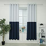 Hello Laura – Triple Weave Thermal Insulated Blackout Grommet Window Curtain 53″ x 95″ | 100% Polyester 1 Panel (Two Tone Dark Blue) For Sale
