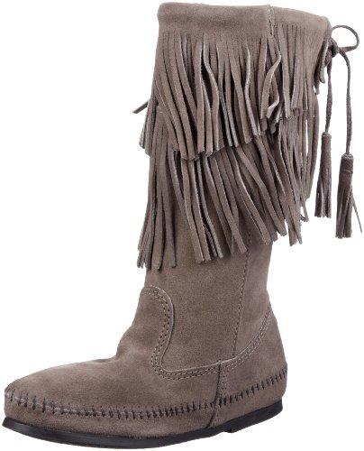 Minnetonka Women's Calf Hi 2-Layer Fringe Boot,Grey,9 M US -