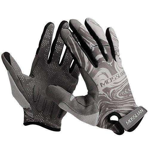 MOSSLIAN Cycling Gloves. Full Finger Riding Gloves,Anti-Slip Shock, Reflex Gel Padded Touch Screen Bike Gloves Men & Women.-M ()