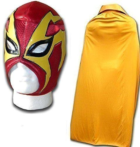 WRESTLING MASKS UK Men's Shocker V Luchador Mexican Wrestling Mask With Cape One Size Red/ Gold by Wrestling