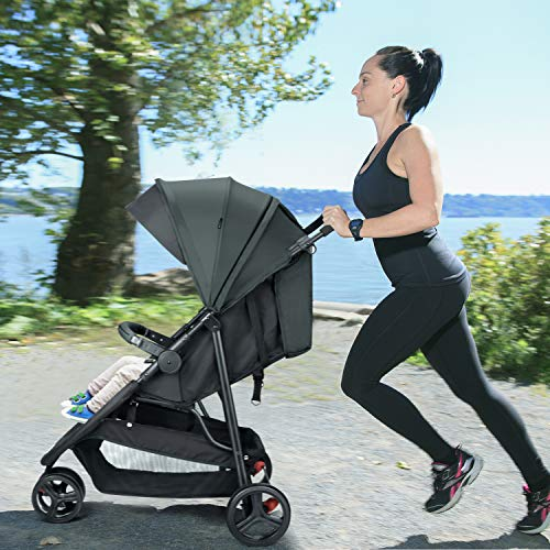 51kGOsSs87L - Meinkind Baby Stroller, Foldable Jogger Stroller Lightweight Baby Strollers 3-Wheels Running Stroller Travel Stroller With Canopy, Snack Tray, 5-Point Safety Belt, Storage Basket, Up To 33lbs Toddler