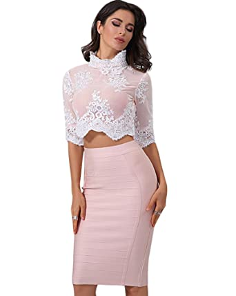 7871a9a1f7 Whoinshop Women's Long Sleeves Crop Top Midi Skirt Outfit Two Pieces  Embellished Bandage Party Dress (
