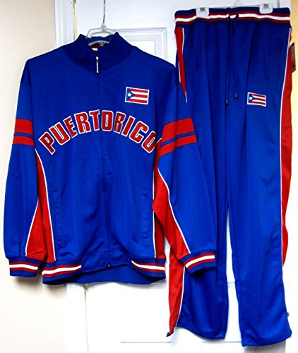 Heavy Track Jacket - Trust USA Puerto Rico Heavy Track Jacket & Pants Blue Tracksuit 2 Piece Set Adult Mens X-Large XL