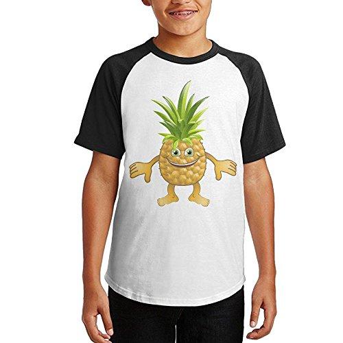 AsAAFGl1 Pineapple Boys & Girls Youth Teenager Raglan T-Shirt Black S
