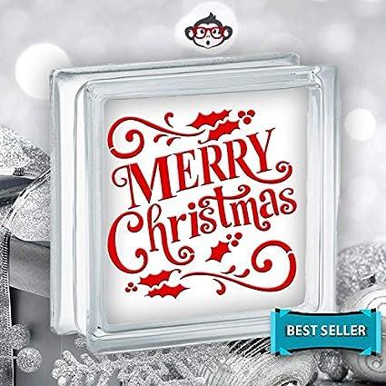 Christmas Vinyl Decals For Glass Blocks.Amazon Com Pene Merry Christmas Holly Vinyl Decal Christmas