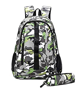 Green Camouflage outdoor travel Backpack Men Woman Student Schoolbag and pencil bag set Bookbag