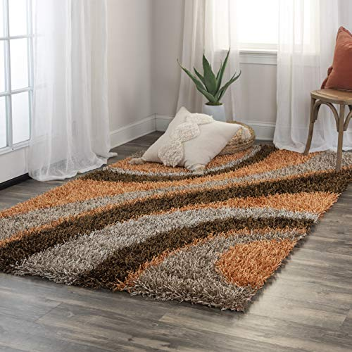 Rizzy Home Kempton Collection KM2325 Hand-Tufted Shag Area Rug 5' x 7' Orange-Brown from Rizzy Home