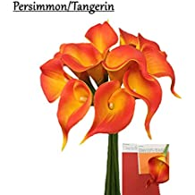 "10pc set Real Touch calla lily-keepsake fragrance calla lily,2.25""bloom perfect for making boutonniere and corsage (Persimmon/Orange)"