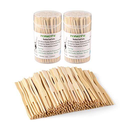 (Bamboo Forks 3.5 Inch, Mini Food Picks for Party, Banquet, Buffet, Catering, and Daily Life. Two Prongs - Blunt End Toothpicks for Appetizer, Cocktail, Fruit, Pastry, Dessert. 220 PCS (2 packs of 110))