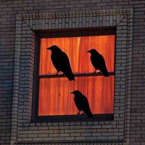 CustomVinylDecor Black Birds Wall Decals - Spooky Theme Vinyl Stickers - Haunted House, Halloween, Fall Season Decorations - Use Indoor or on Outdoor Windows ()