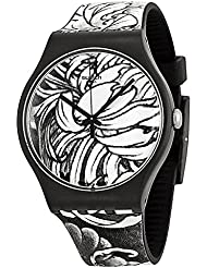 Swatch Dark Graft Black and White Dial Silicone Strap Mens Watch SUOZ153