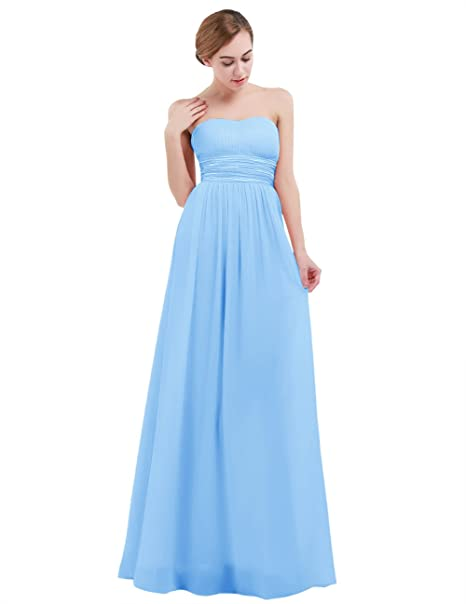 iEFiEL Vestido Largo sin Tirantes de Noche Boda para Mujer Chica Espalda al Aire Azul XS