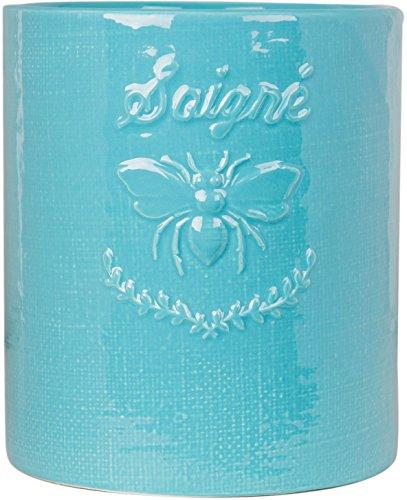 (Vintage Ceramic Utensil Container- Utensil Crock With Embossed)