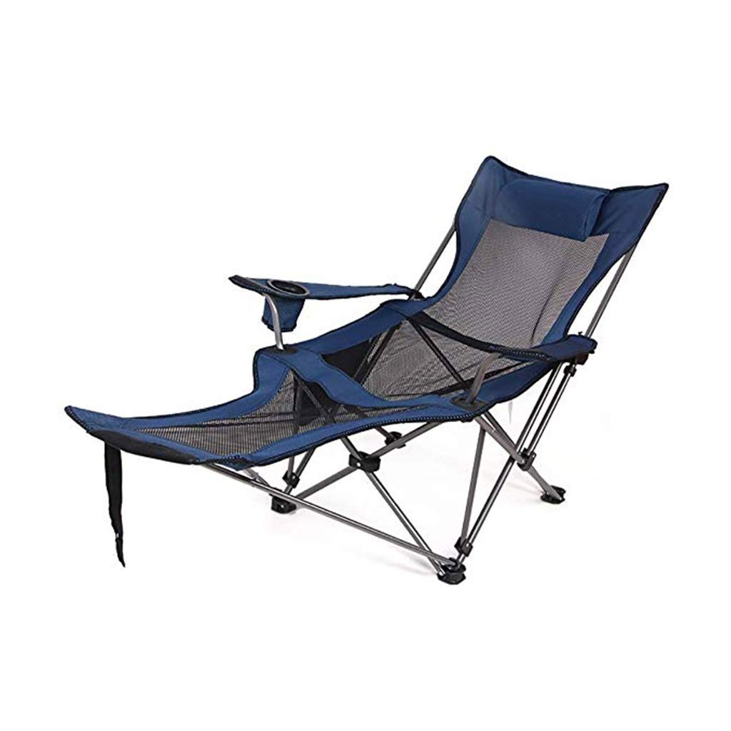YYTLTY Camping Chairs Outdoor Folding Lounge Chairs, Portable with Side Pocket & Side Pouch for Fishing, Beach, Hiking,Foundation Load 100kg (Color : Blue) by YYTLTY